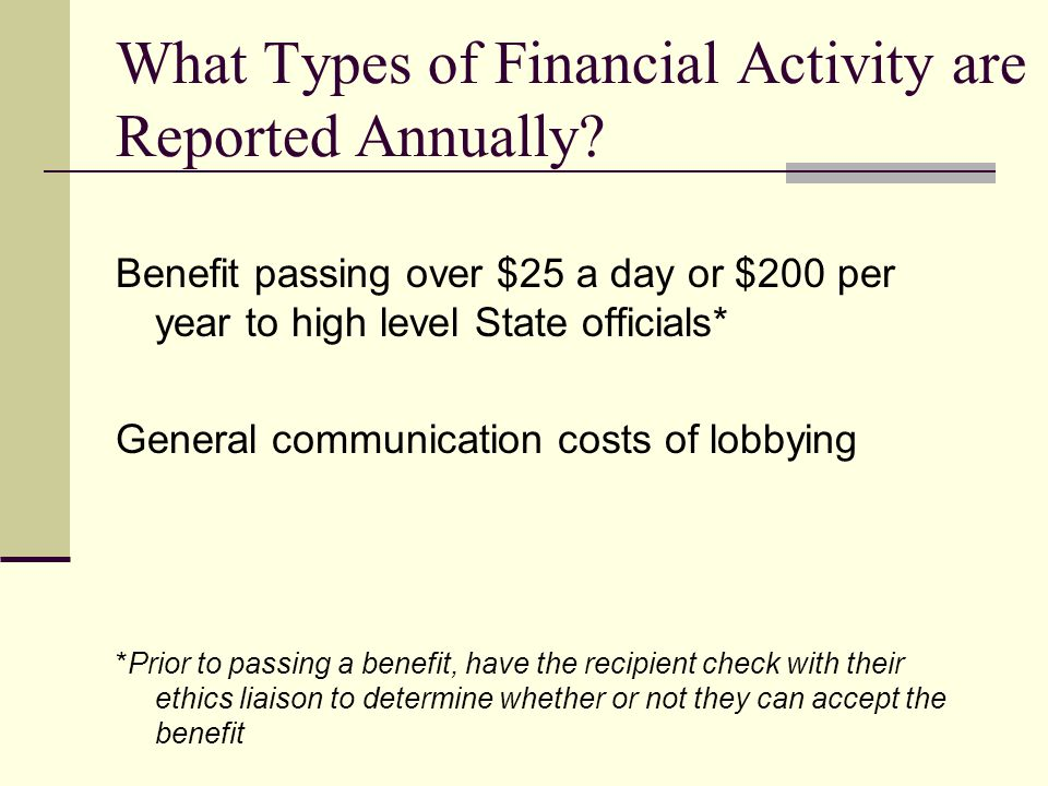 What Types of Financial Activity are Reported Annually
