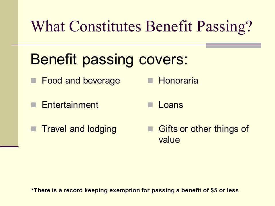 What Constitutes Benefit Passing