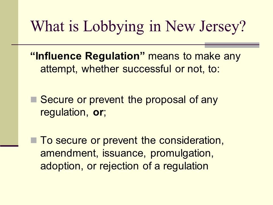 What is Lobbying in New Jersey