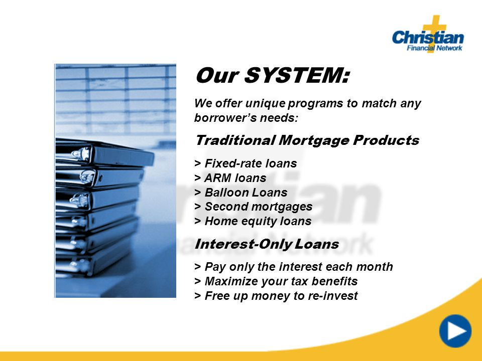 Our SYSTEM: Traditional Mortgage Products Interest-Only Loans