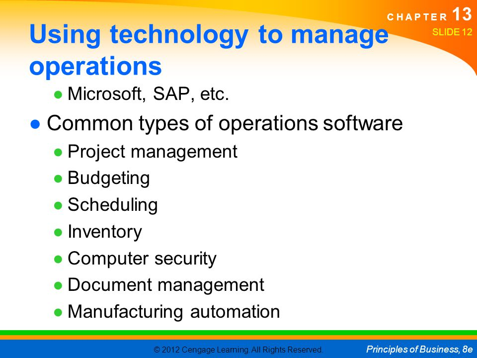 Using technology to manage operations