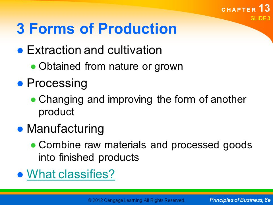 3 Forms of Production Extraction and cultivation Processing