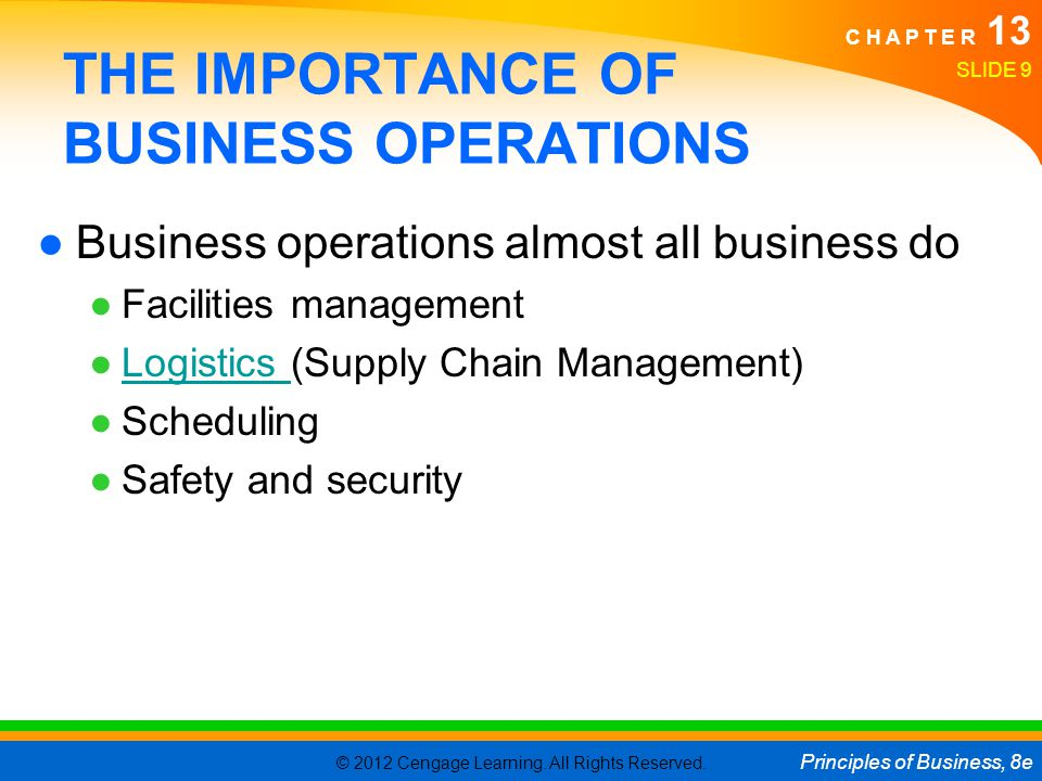 THE IMPORTANCE OF BUSINESS OPERATIONS