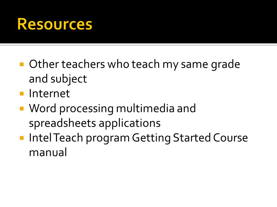 Resources Other teachers who teach my same grade and subject Internet