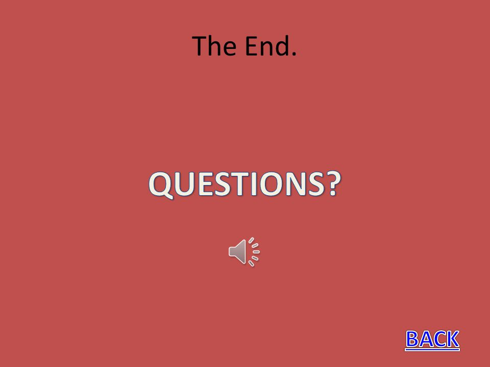 The End. QUESTIONS BACK