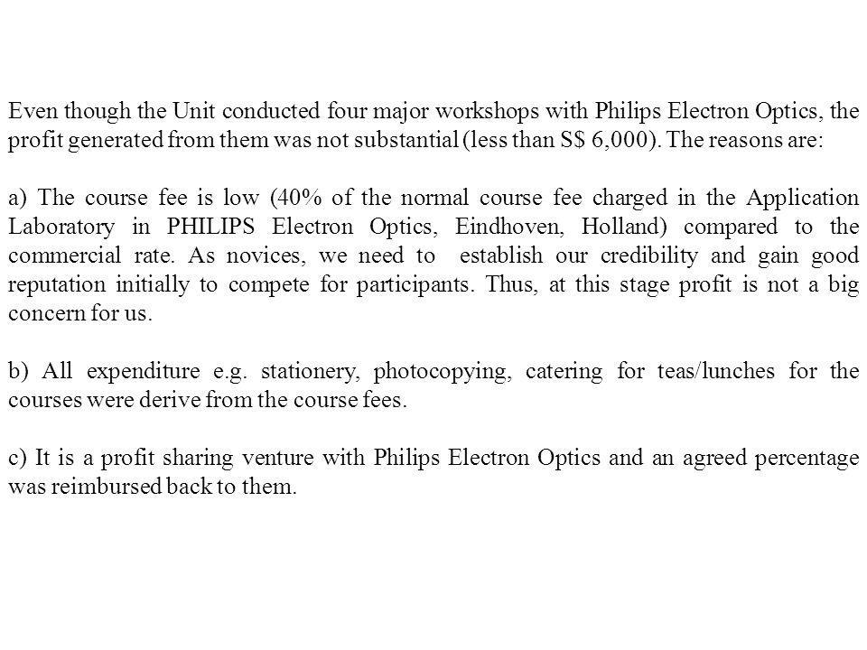Even though the Unit conducted four major workshops with Philips Electron Optics, the profit generated from them was not substantial (less than S$ 6,000). The reasons are: