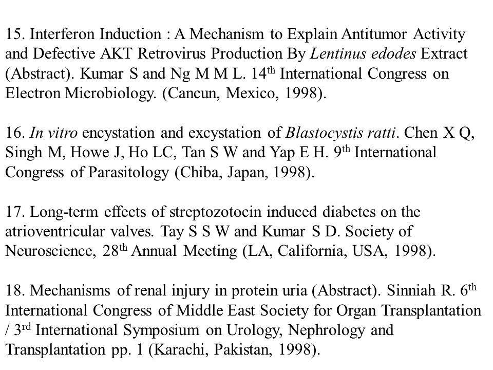 15. Interferon Induction : A Mechanism to Explain Antitumor Activity and Defective AKT Retrovirus Production By Lentinus edodes Extract (Abstract). Kumar S and Ng M M L. 14th International Congress on Electron Microbiology. (Cancun, Mexico, 1998).