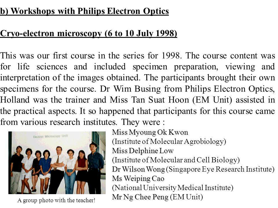 b) Workshops with Philips Electron Optics