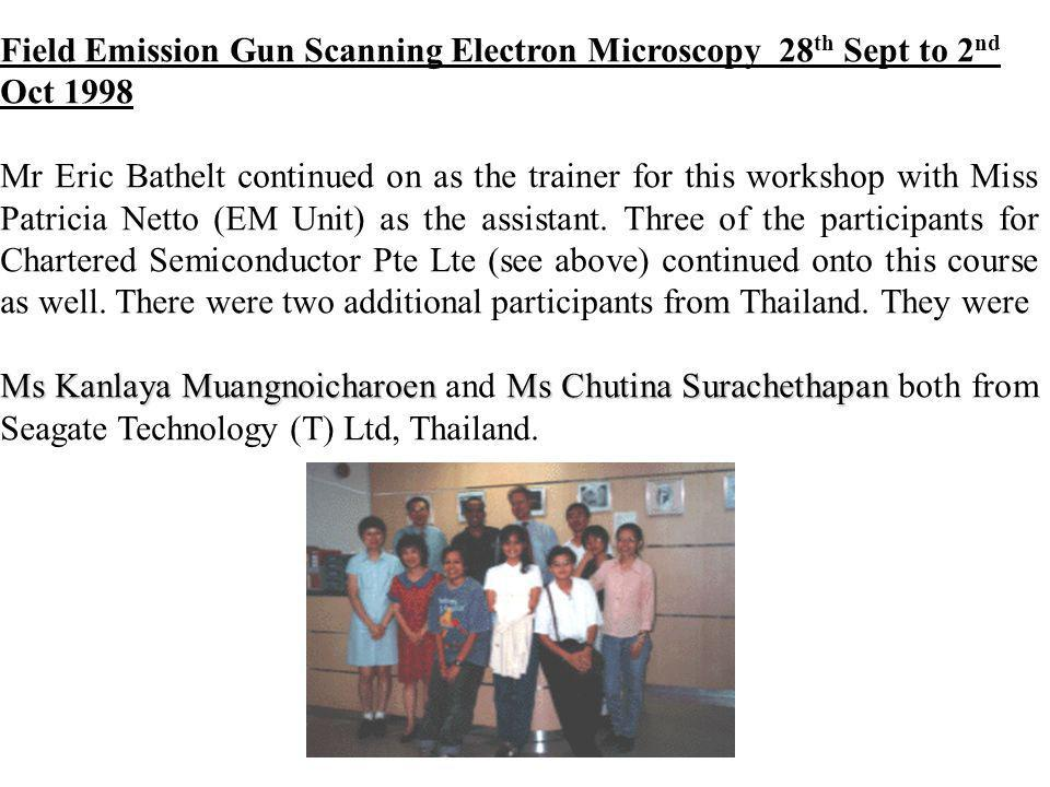 Field Emission Gun Scanning Electron Microscopy 28th Sept to 2nd Oct 1998