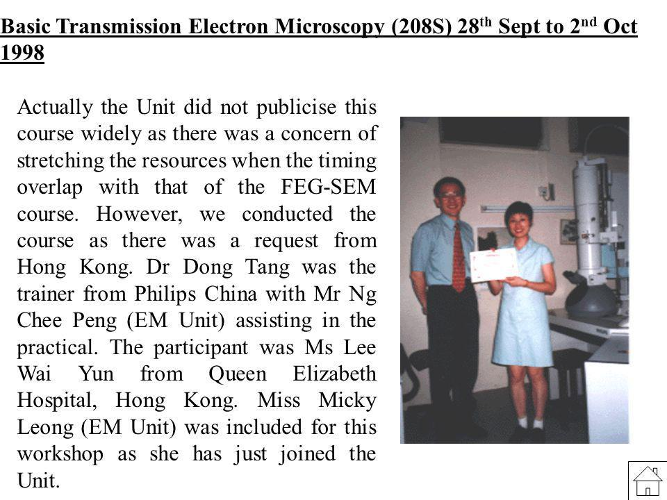 Basic Transmission Electron Microscopy (208S) 28th Sept to 2nd Oct 1998