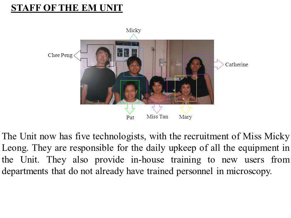 STAFF OF THE EM UNIT Catherine. Mary. Miss Tan. Pat. Micky. Chee Peng.