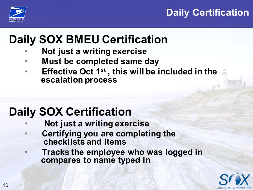 Daily SOX BMEU Certification