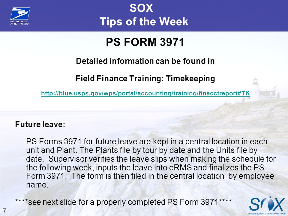 SOX Tips of the Week PS FORM 3971