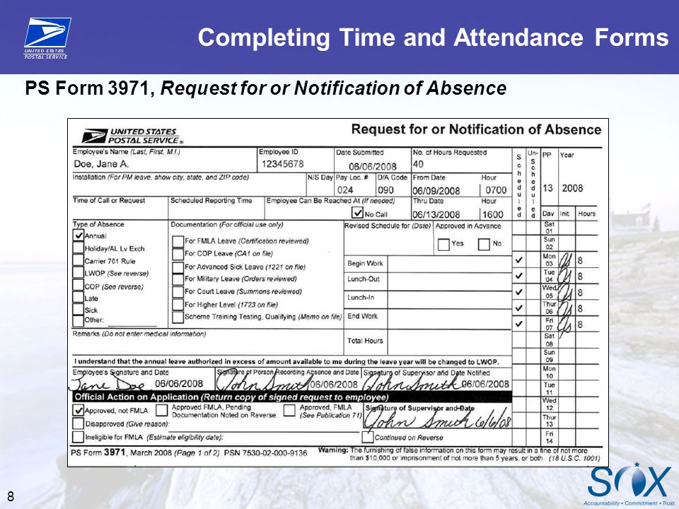 Completing Time and Attendance Forms