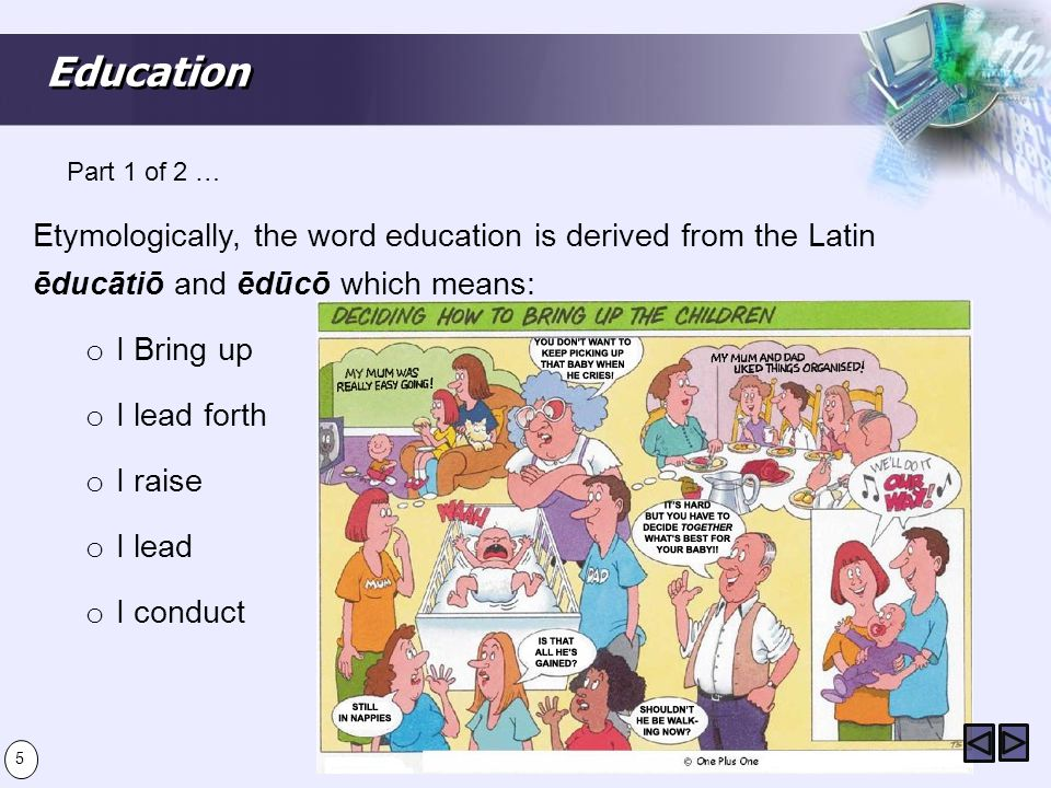 Education Part 1 of 2 … Etymologically, the word education is derived from the Latin ēducātiō and ēdūcō which means:
