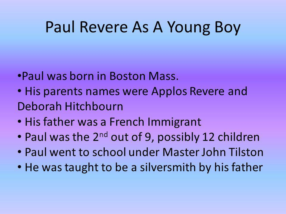Paul Revere As A Young Boy
