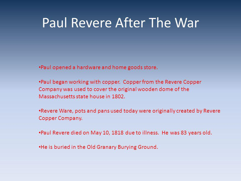 Paul Revere After The War