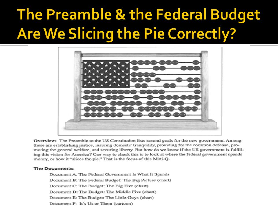 The Preamble & the Federal Budget Are We Slicing the Pie Correctly