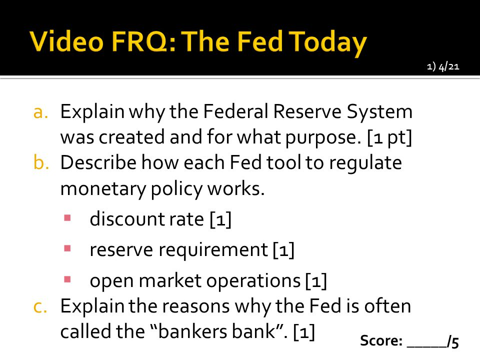 Video FRQ: The Fed Today