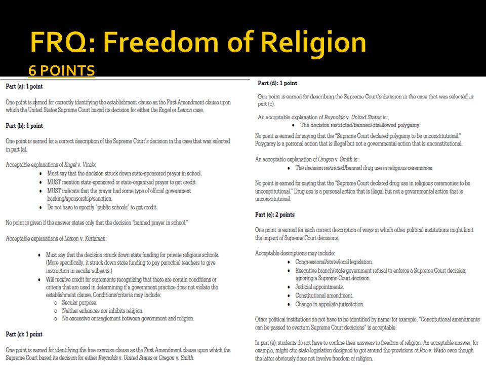 FRQ: Freedom of Religion