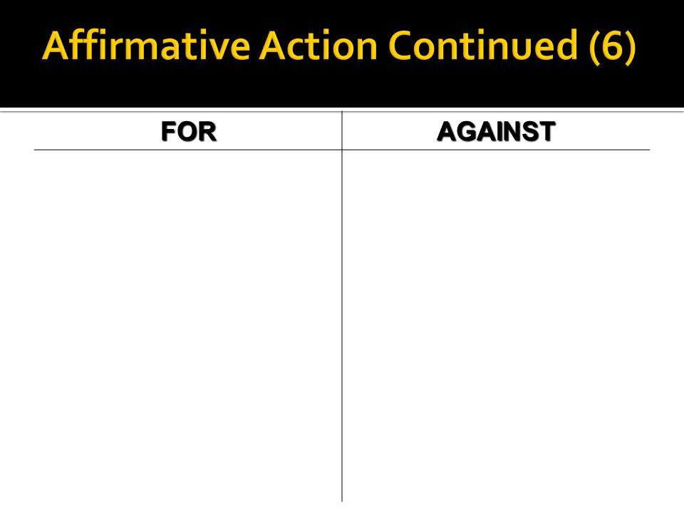 Affirmative Action Continued (6)