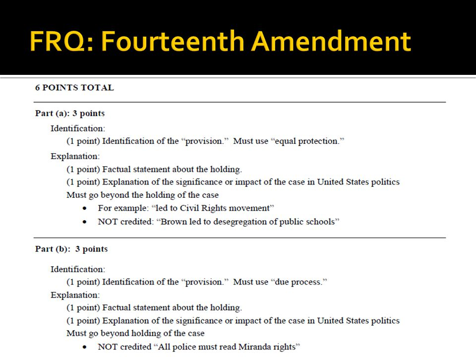 FRQ: Fourteenth Amendment