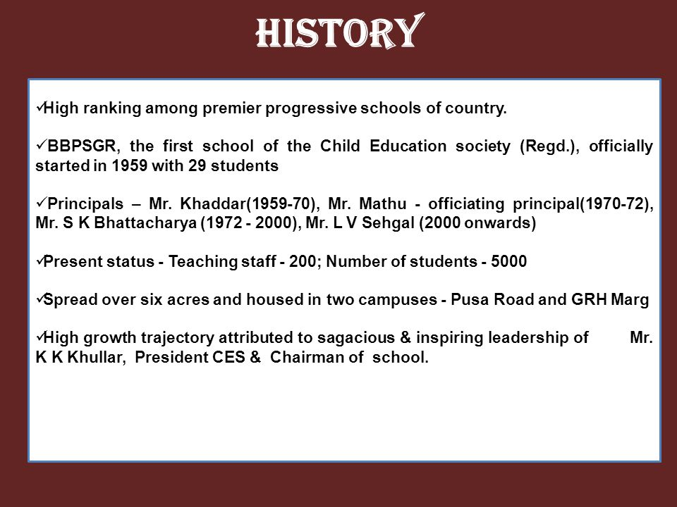 History High ranking among premier progressive schools of country.