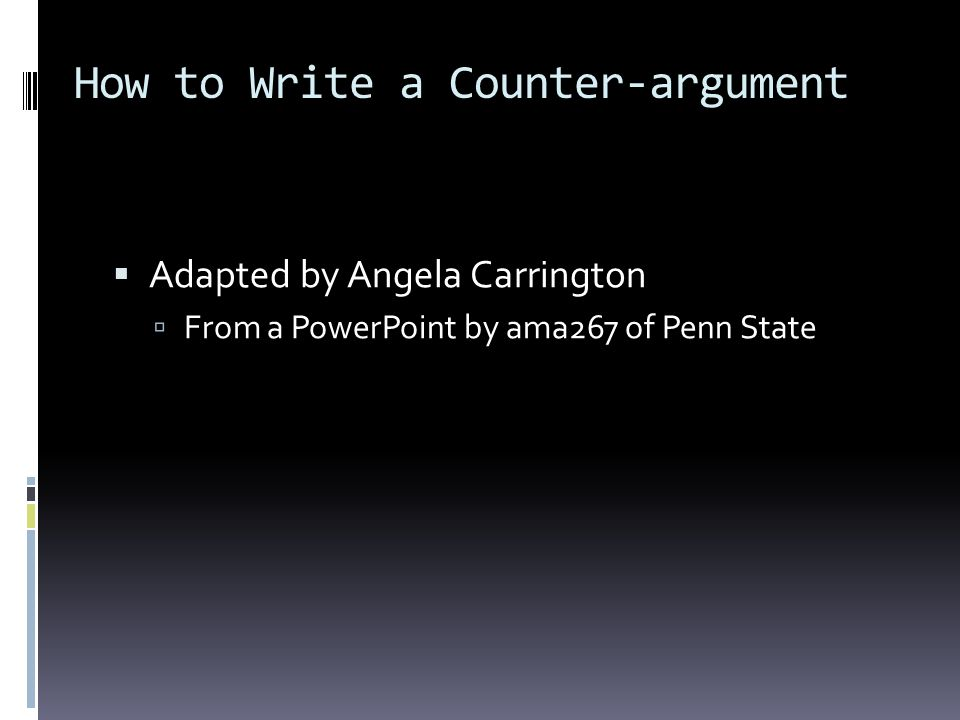 How to Write a Counter-argument
