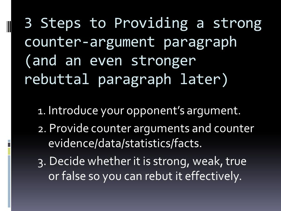 3 Steps to Providing a strong counter-argument paragraph (and an even stronger rebuttal paragraph later)