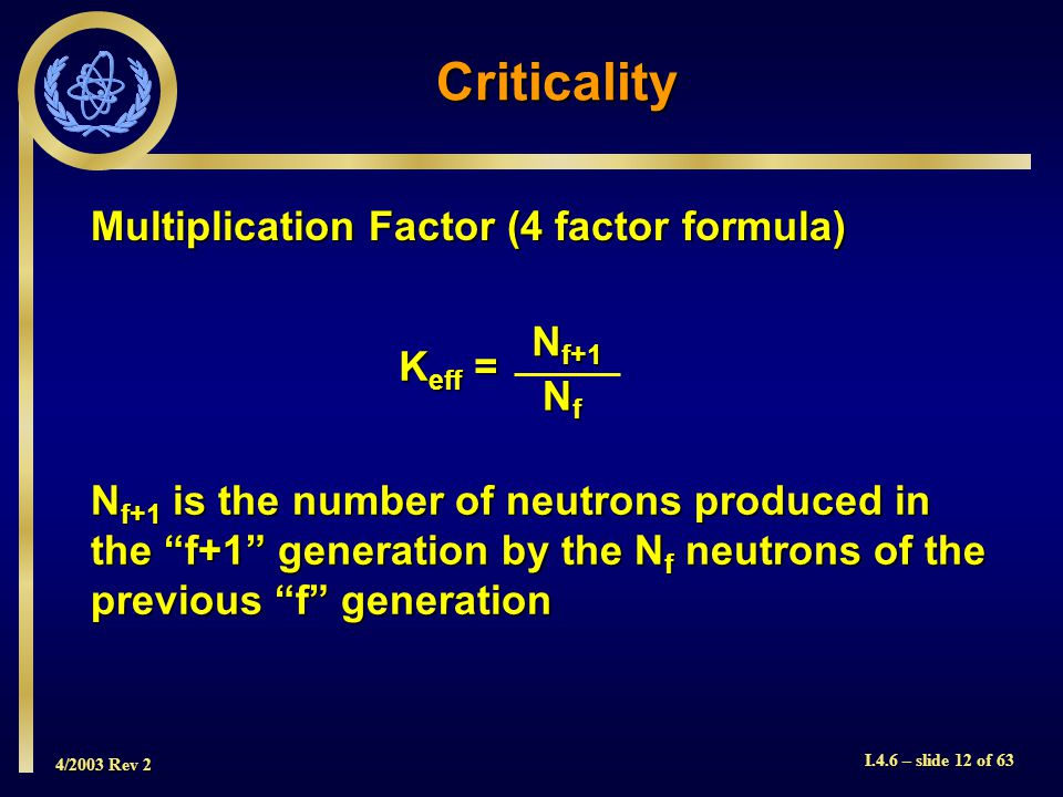 Criticality Multiplication Factor (4 factor formula) Nf+1 Keff = Nf