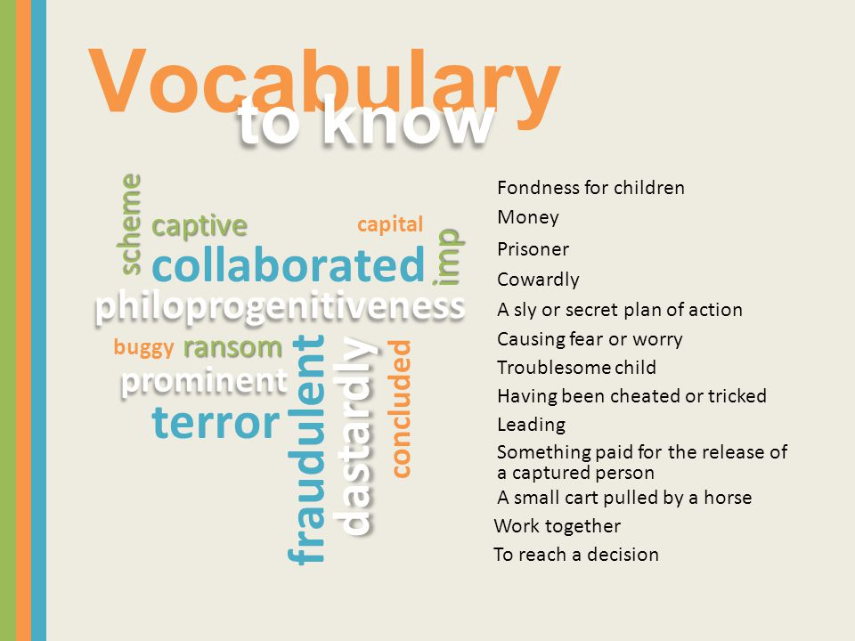 Vocabulary to know collaborated fraudulent dastardly terror