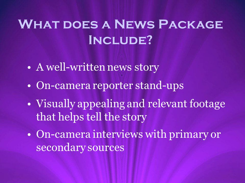 What does a News Package Include