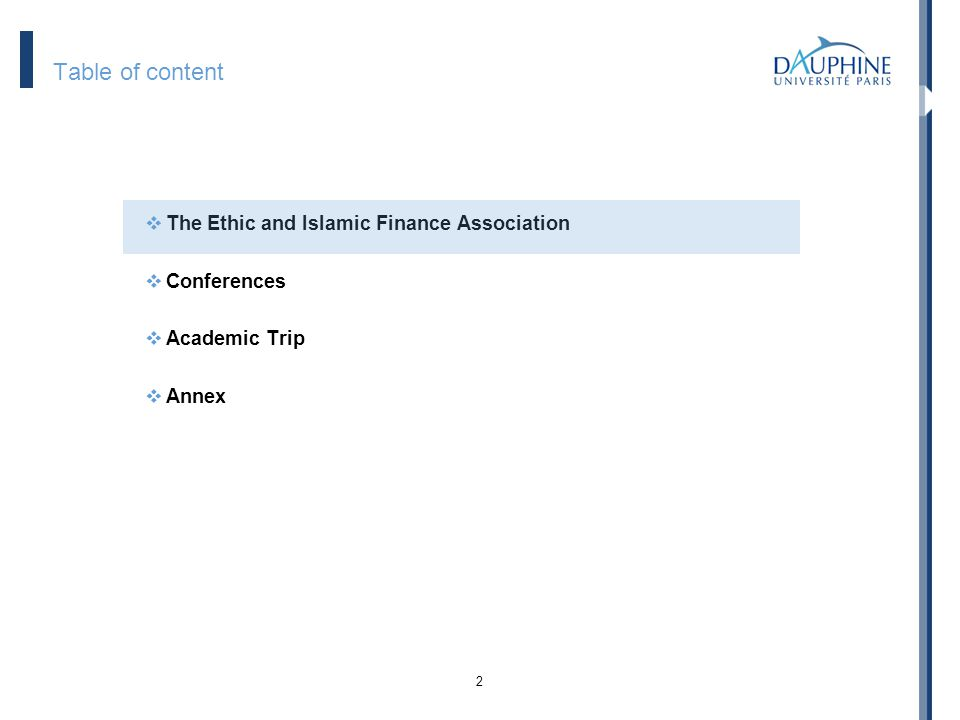 Table of content The Ethic and Islamic Finance Association Conferences