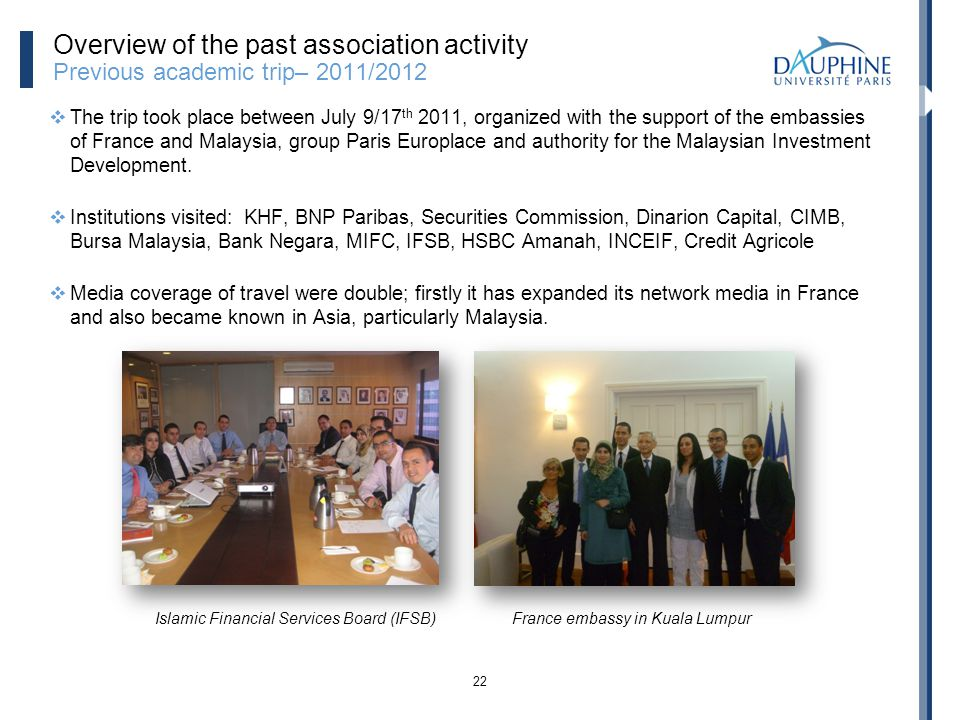 Overview of the past association activity Previous academic trip– 2011/2012