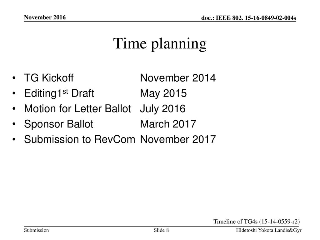 Time planning TG Kickoff November 2014 Editing1st Draft May 2015