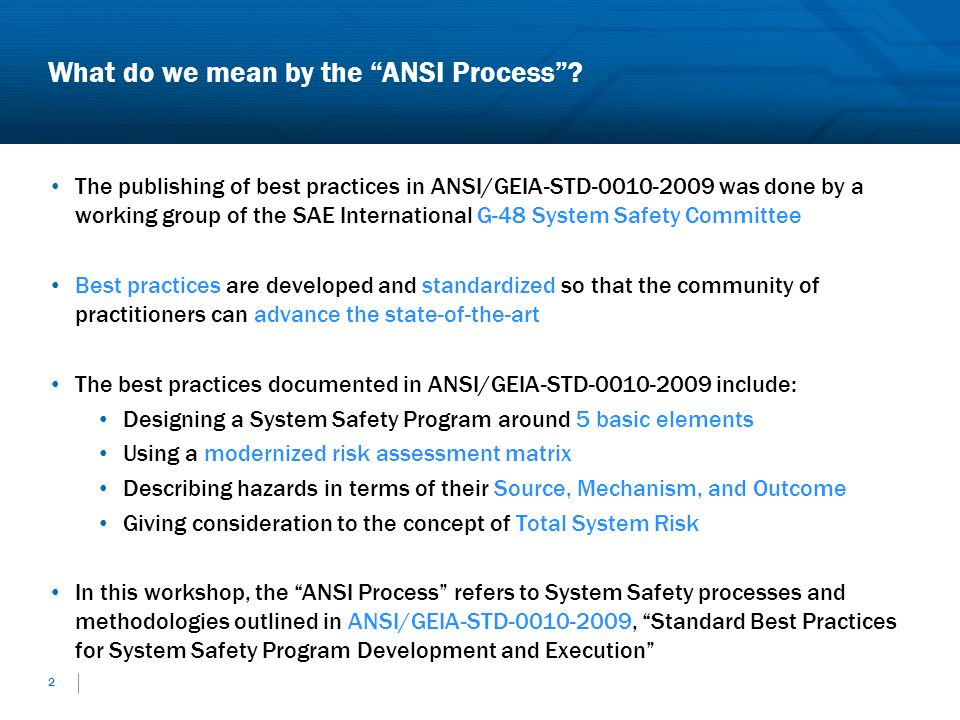 What do we mean by the ANSI Process