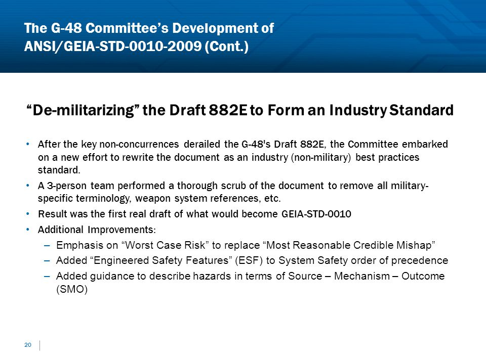 The G-48 Committee's Development of ANSI/GEIA-STD-0010-2009 (Cont.)