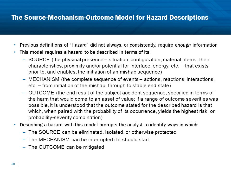 The Source-Mechanism-Outcome Model for Hazard Descriptions