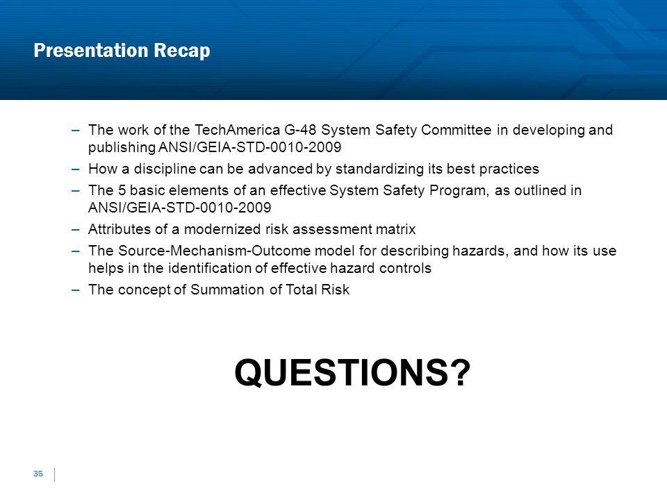 QUESTIONS Presentation Recap