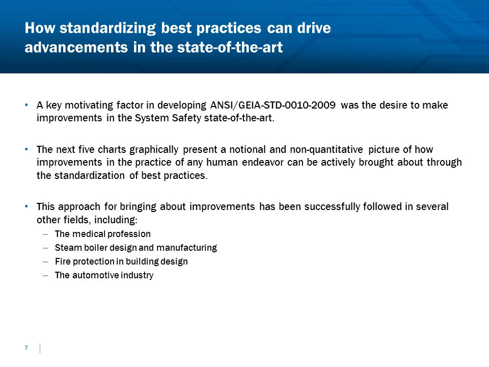How standardizing best practices can drive advancements in the state-of-the-art