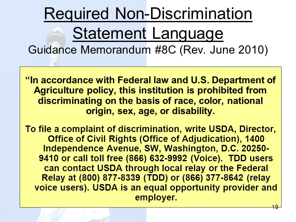 Required Non-Discrimination Statement Language Guidance Memorandum #8C (Rev. June 2010)