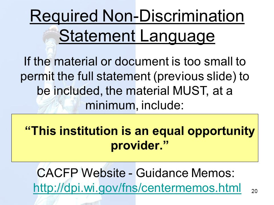 Required Non-Discrimination Statement Language
