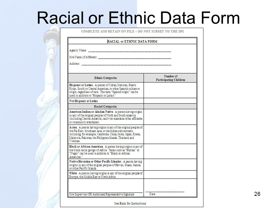 Racial or Ethnic Data Form