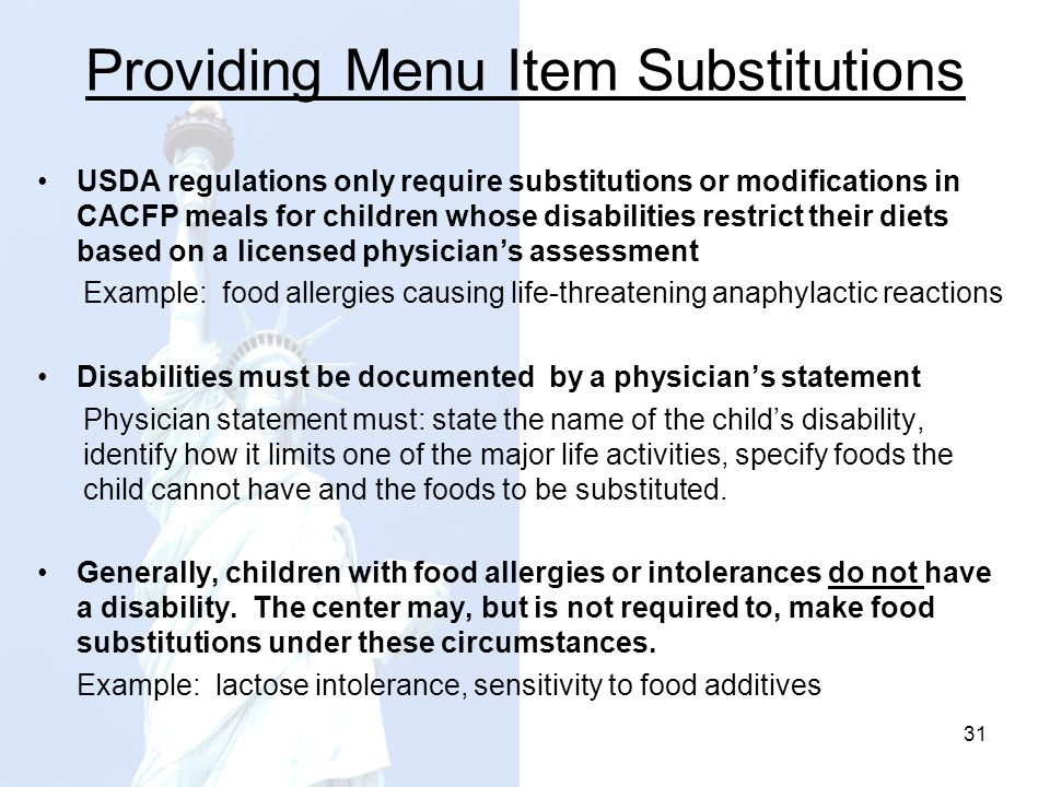 Providing Menu Item Substitutions