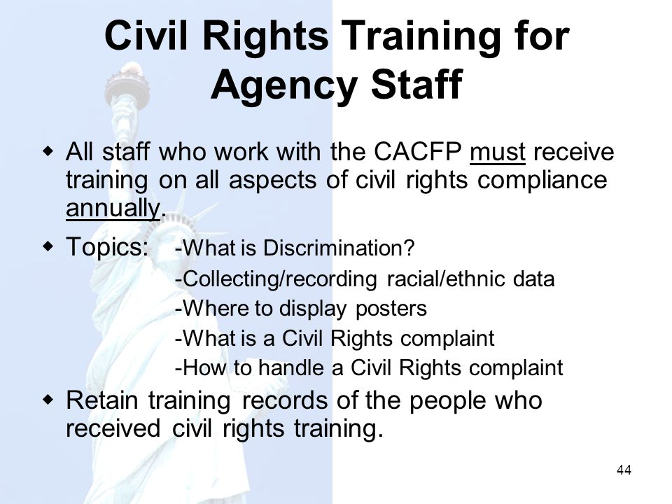 Civil Rights Training for Agency Staff
