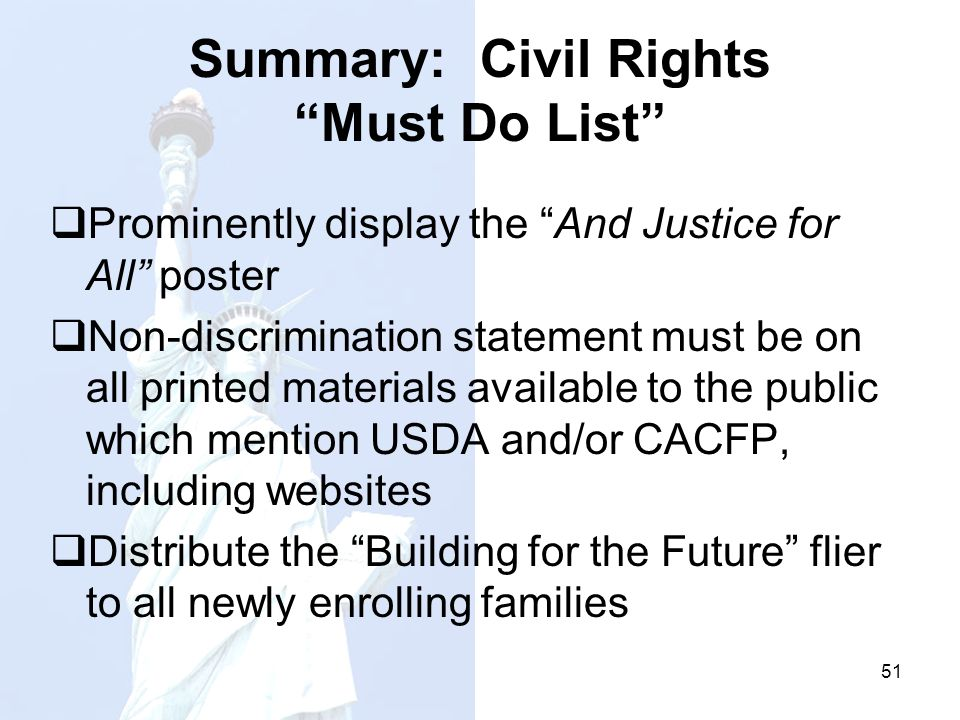 Summary: Civil Rights Must Do List