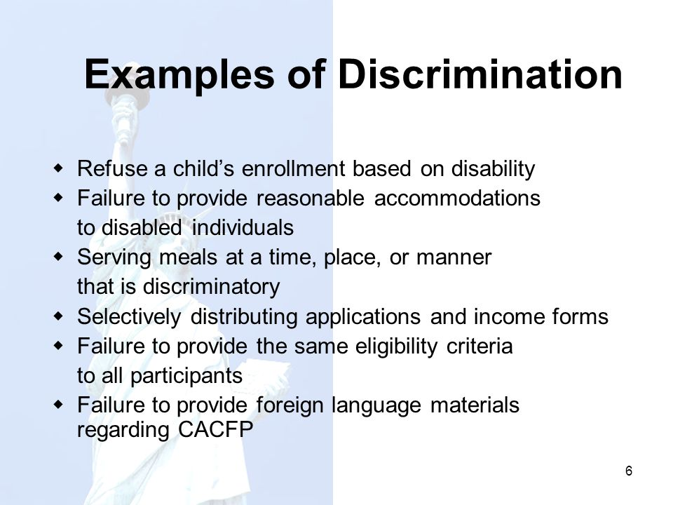 prejudice and even discrimination examples