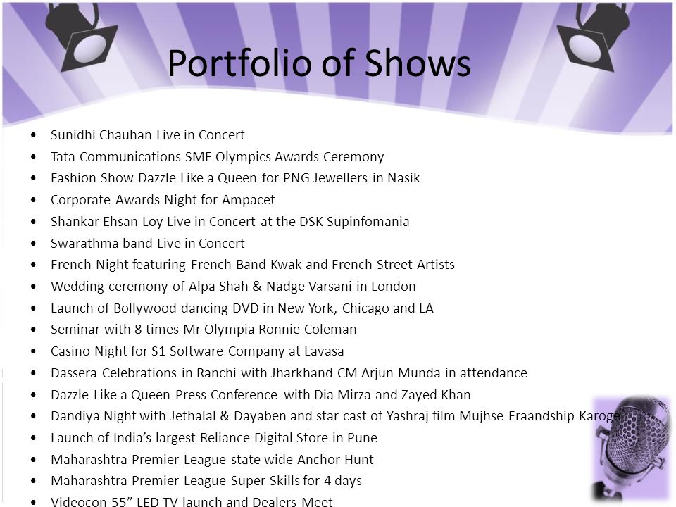 Portfolio of Shows • Sunidhi Chauhan Live in Concert