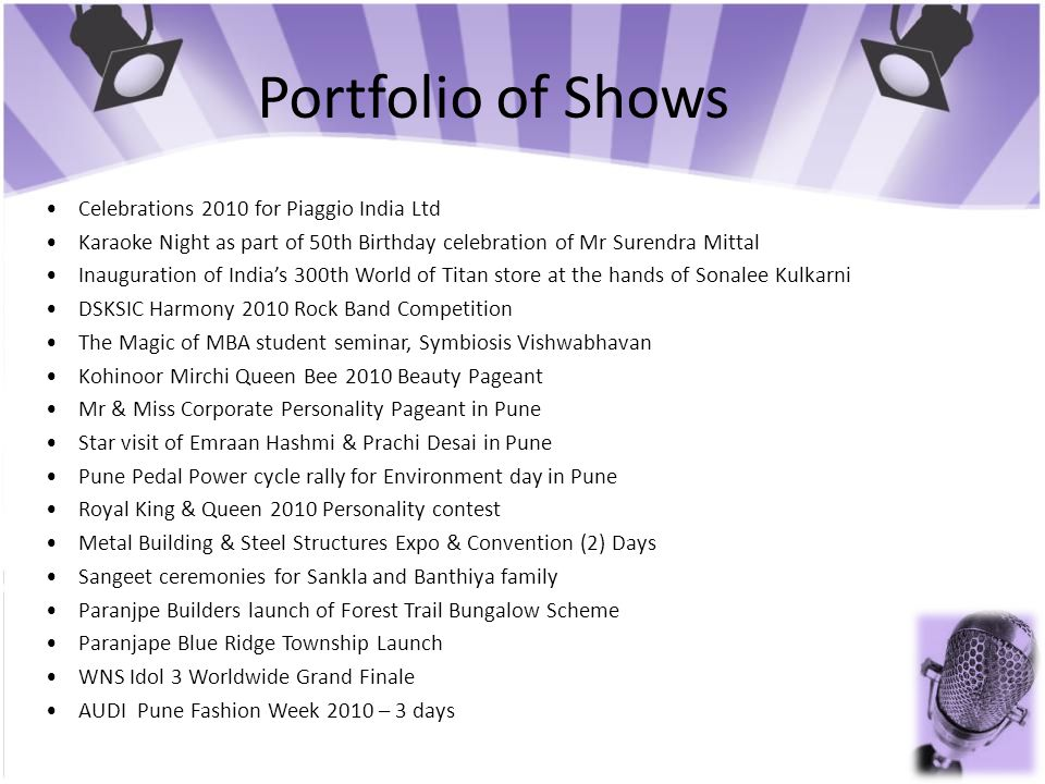 Portfolio of Shows • Celebrations 2010 for Piaggio India Ltd
