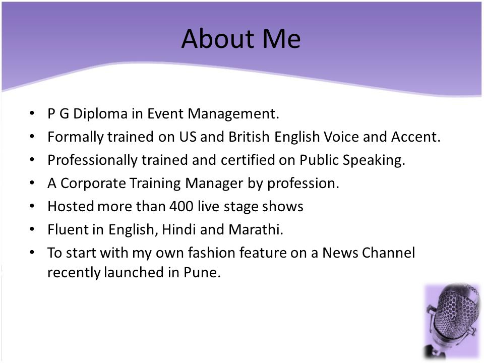 About Me P G Diploma in Event Management.